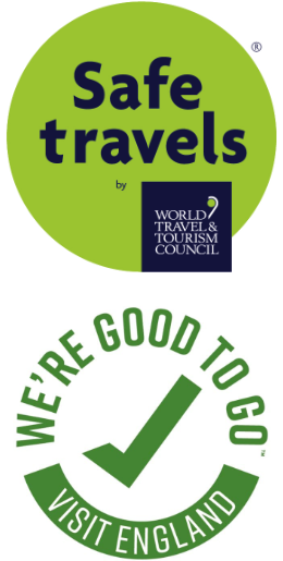 Covid safe logos from World Travel & Tourism Council, and Visit England